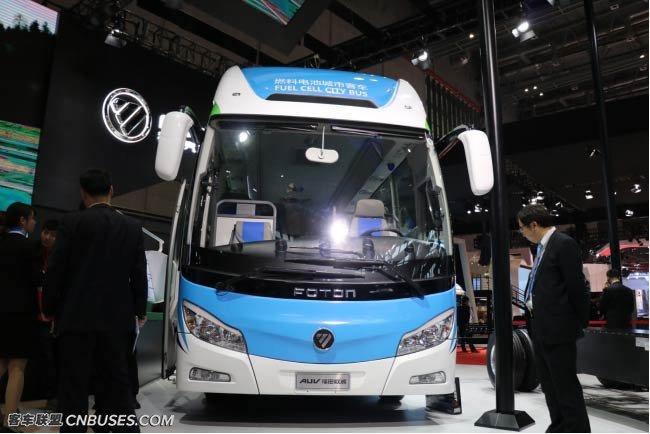 福田欧辉8.5米氢燃料电池客车亮相上海国际车展