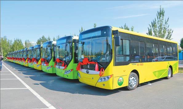 运抵佳木斯的新型纯电动公交车